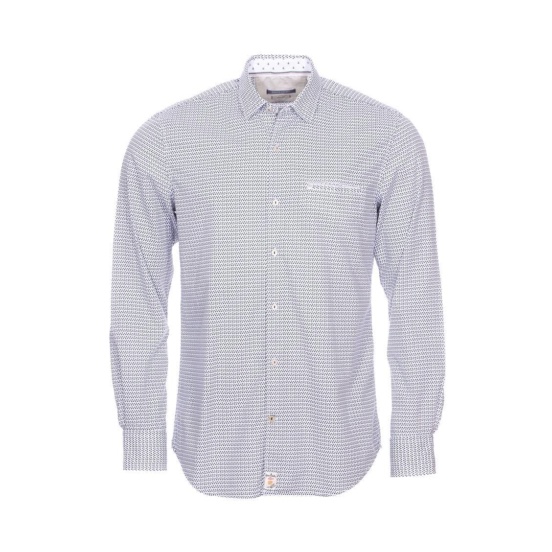 Chemise cintrée  en coton blanc à motifs cachemire bleu indigo
