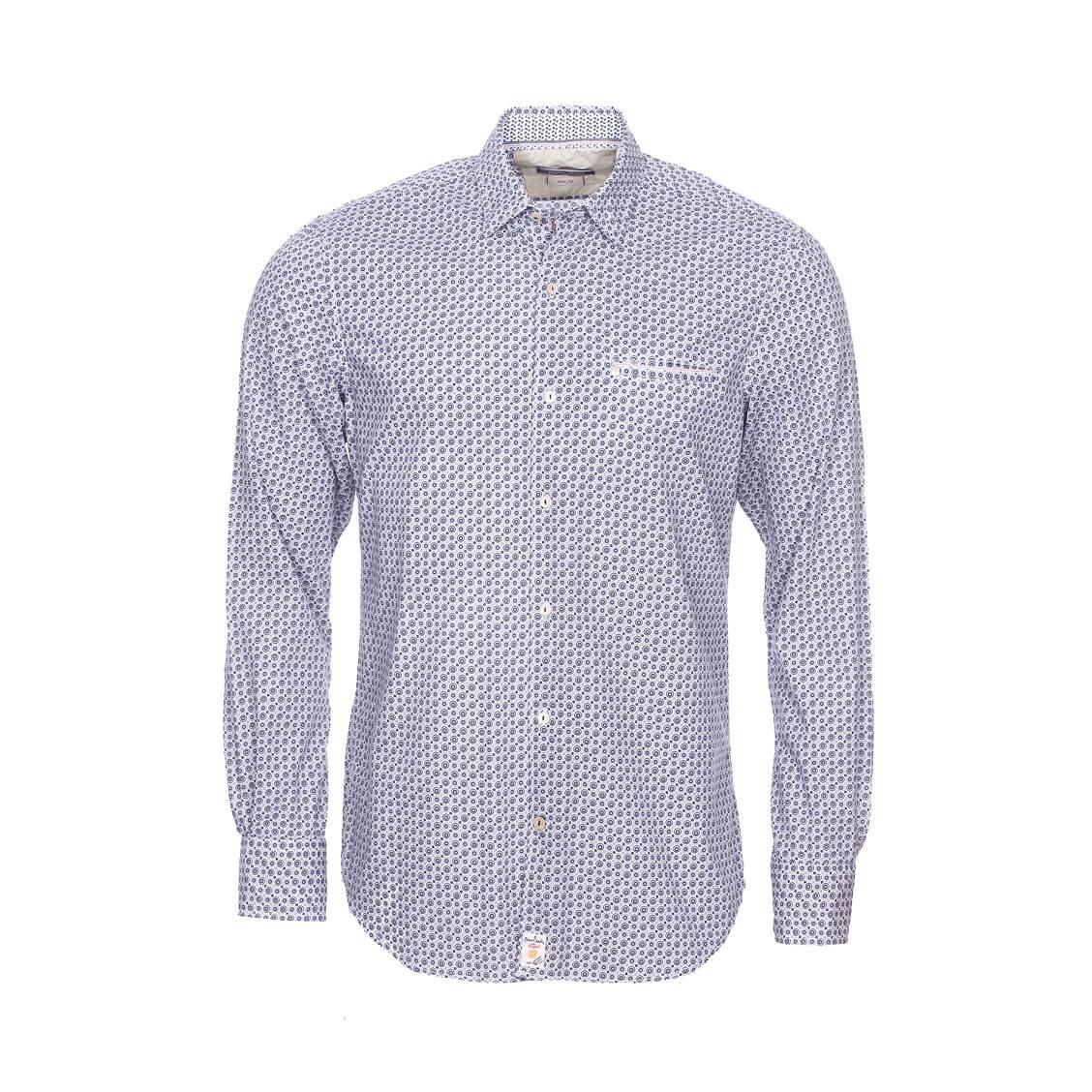 Chemise cintrée  en coton blanc à pois fantaisies bleu indigo