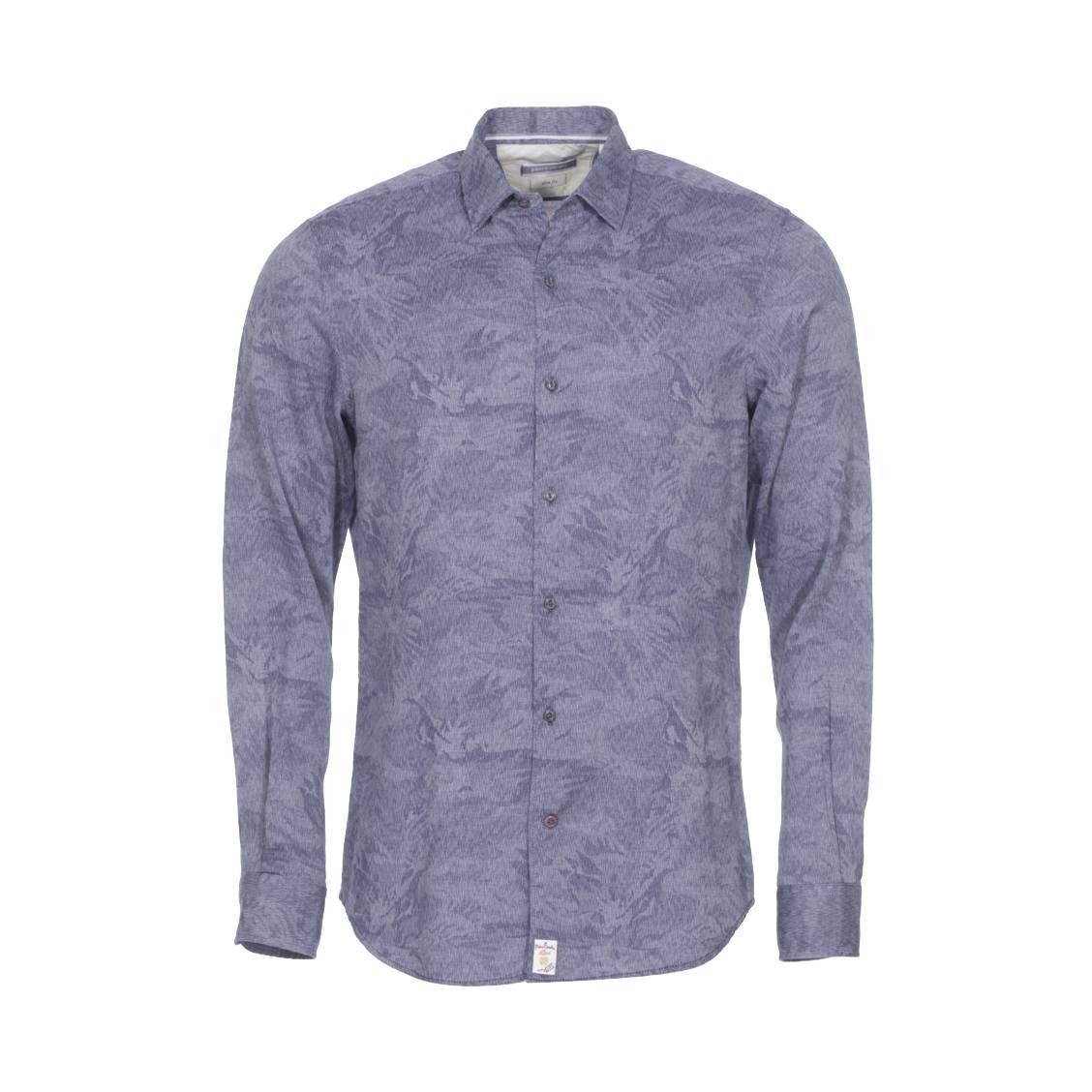 Chemise cintrée  en coton bleu denim fantaisie à tissage chevrons
