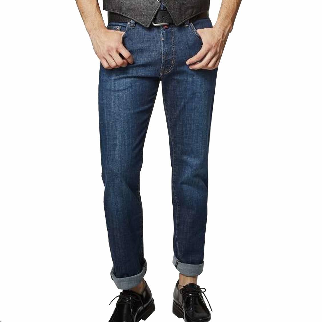 Jean  deauville en coton stretch bleu brut