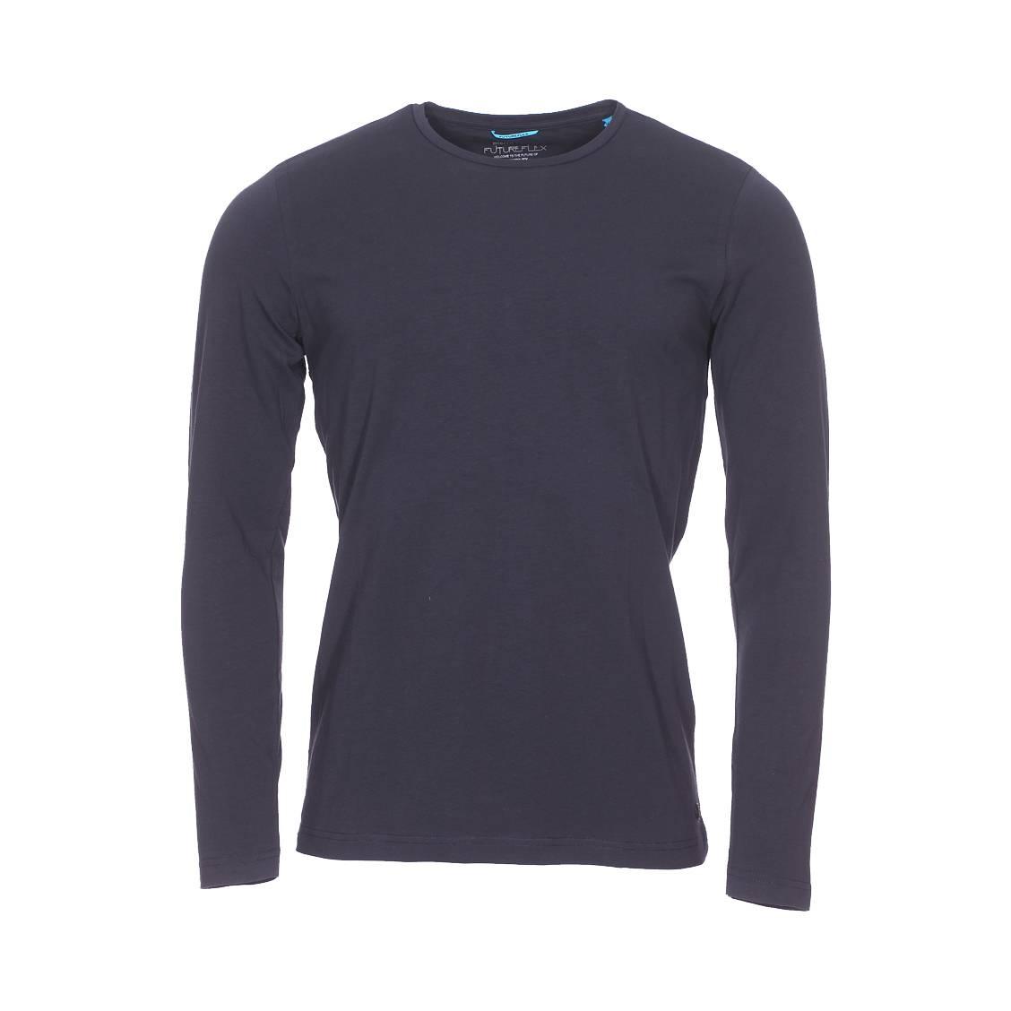 Tee-shirt col rond manches longues  en coton stretch bleu marine