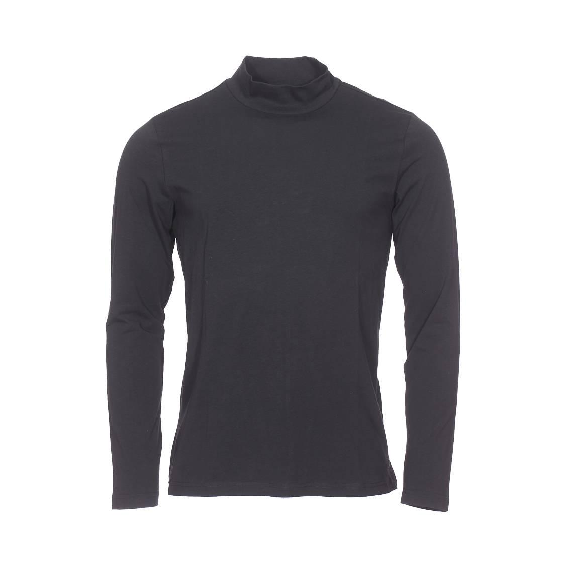 Tee-shirt col montant manches longues  en coton stretch noir