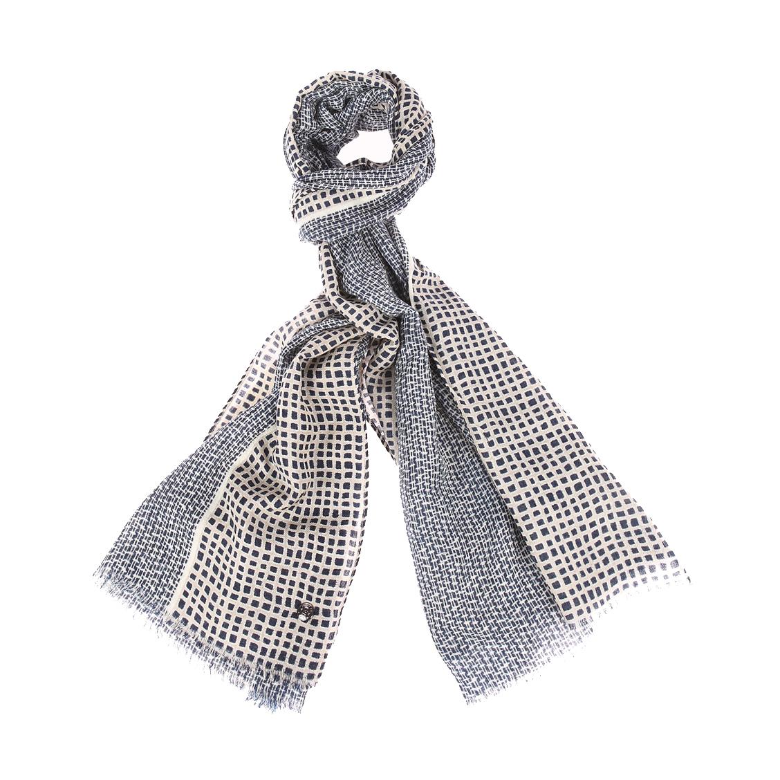 Echarpe  en laine à motifs bleu marine et beige