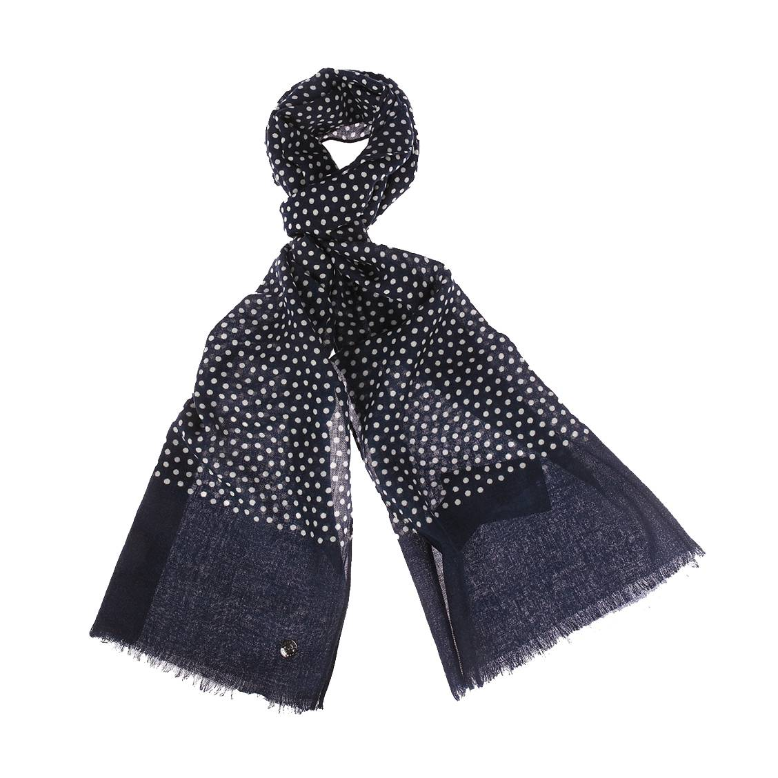 Echarpe  en laine bleu marine à pois