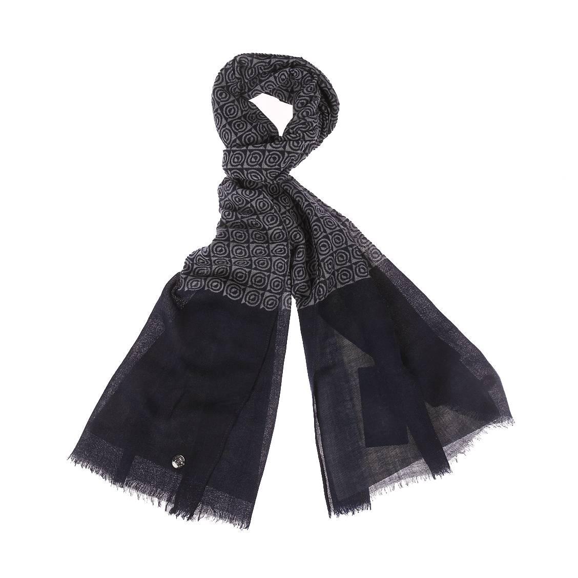 Echarpe  en laine à motifs bleu marine et gris anthracite