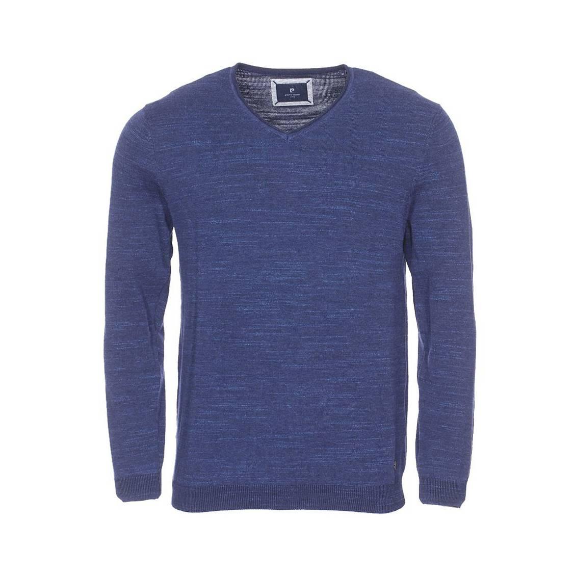Pull col v  tricot en coton bleu indigo chiné