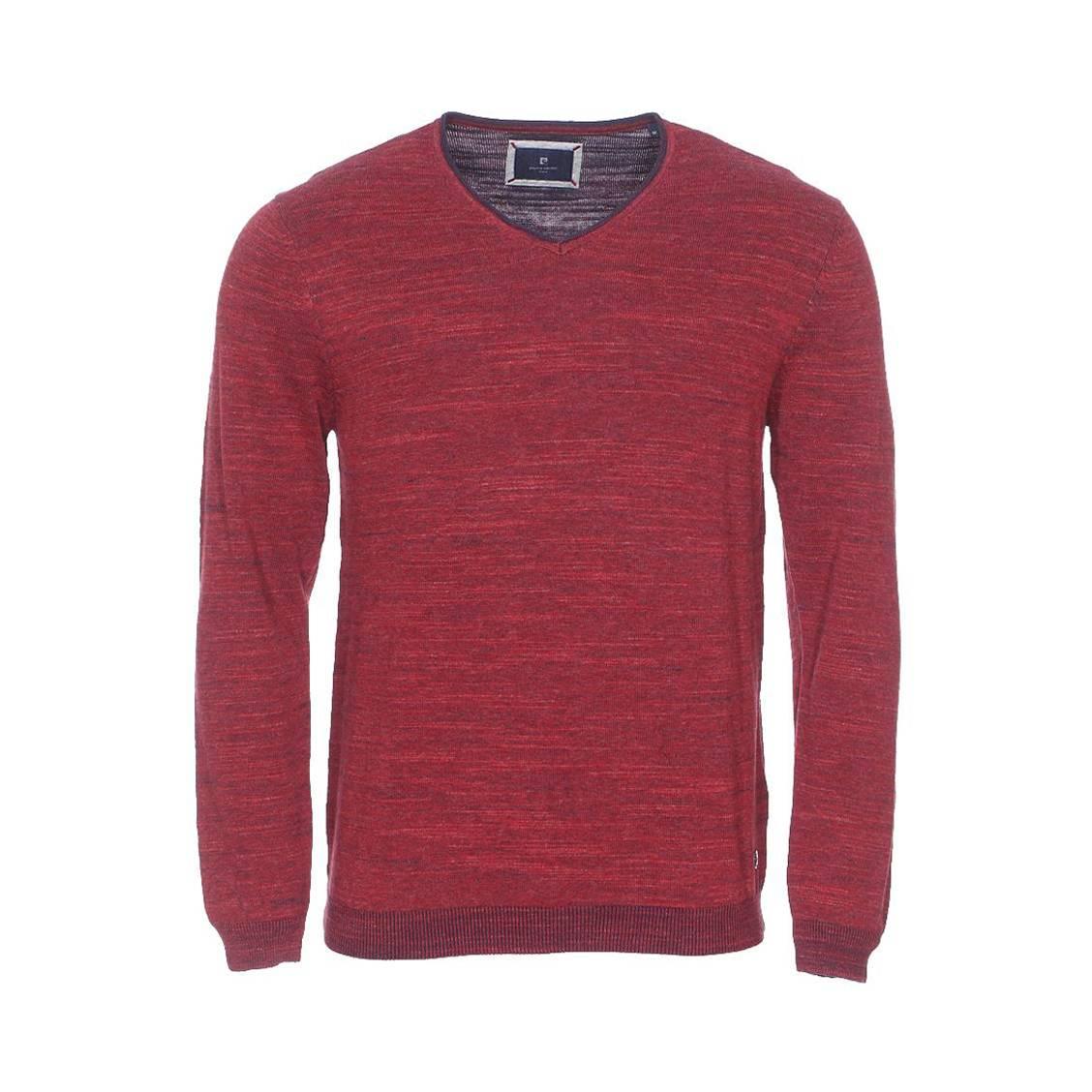 Pull col v  tricot en coton bordeaux chiné