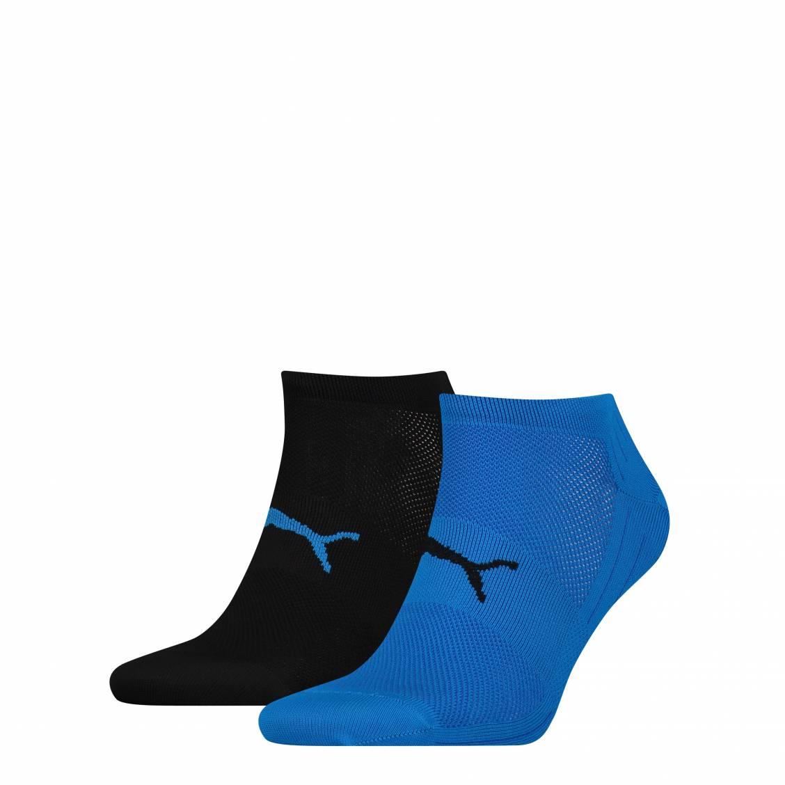 gamme complète de spécifications ramassé bonne vente de chaussures Lot de 2 paires de socquettes Puma Performance Train Light Sneaker en  microfibre bleue et noires | Rue Des Hommes