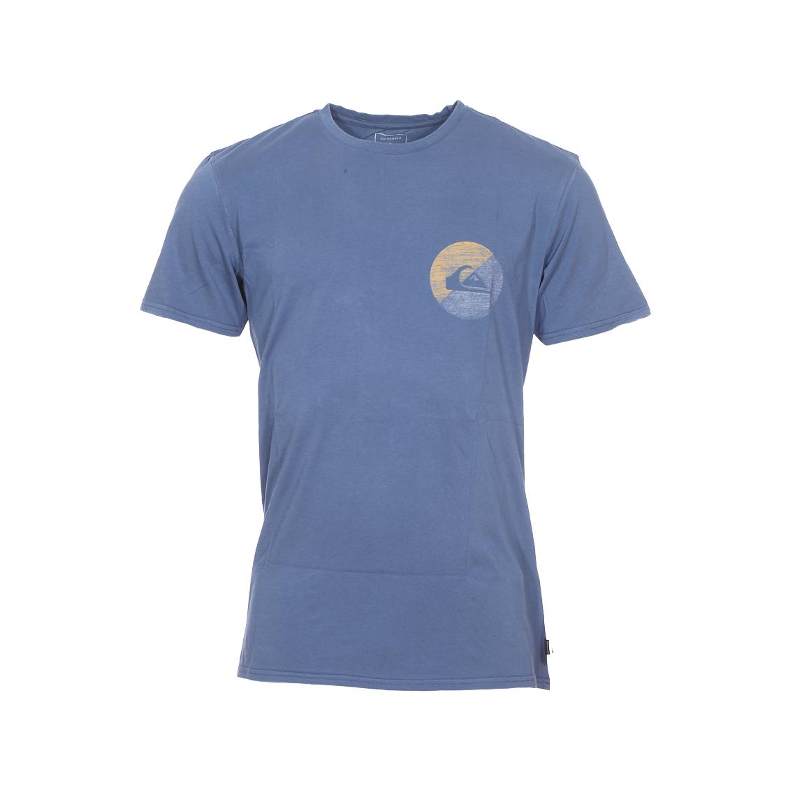 Tee-shirt col rond  shook up en coton bleu indigo à imprimé graphique sur la poitrine et au dos