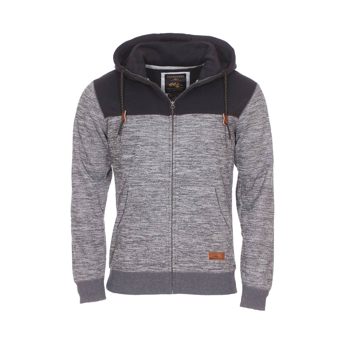 Sweat à capuche zippé  keller block gris anthracite chiné et noir