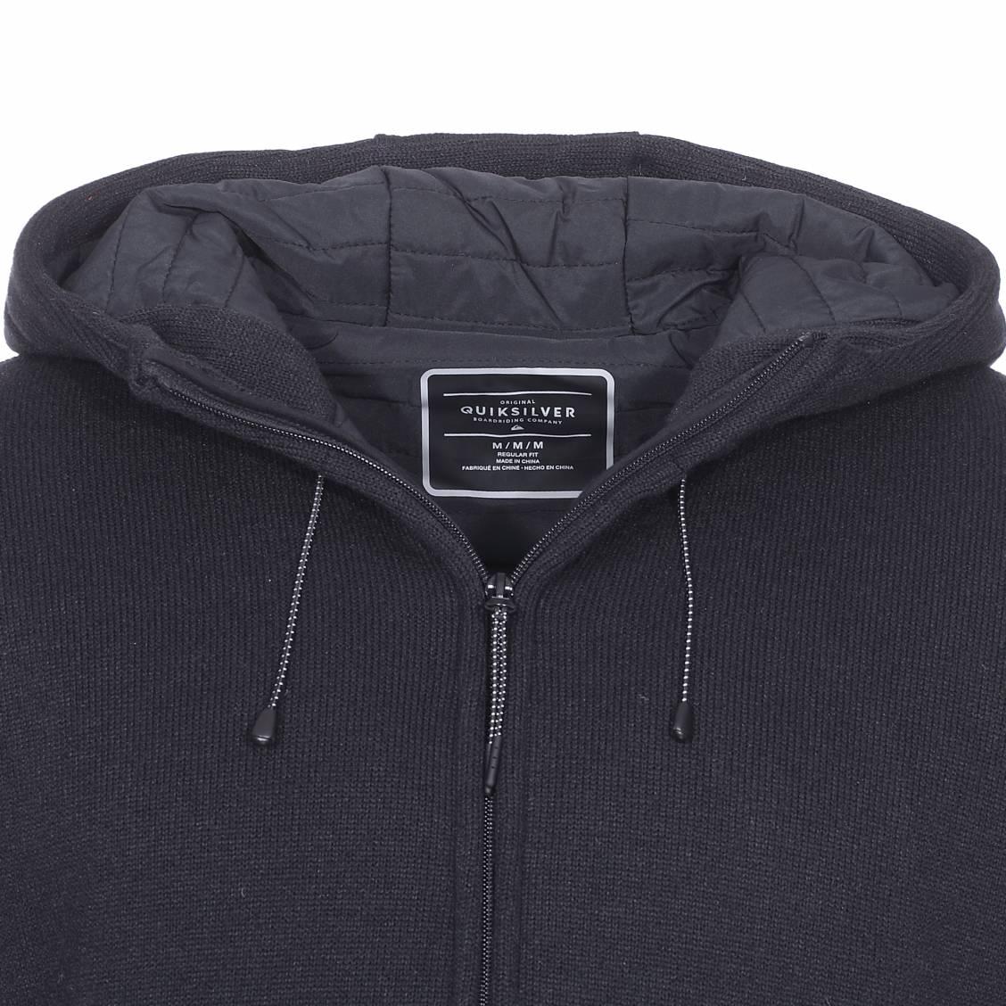 premier coup d'oeil Excellente qualité marques reconnues Sweat à capuche zippé Quiksilver Keller Puff bi-matière noir | Rue Des  Hommes
