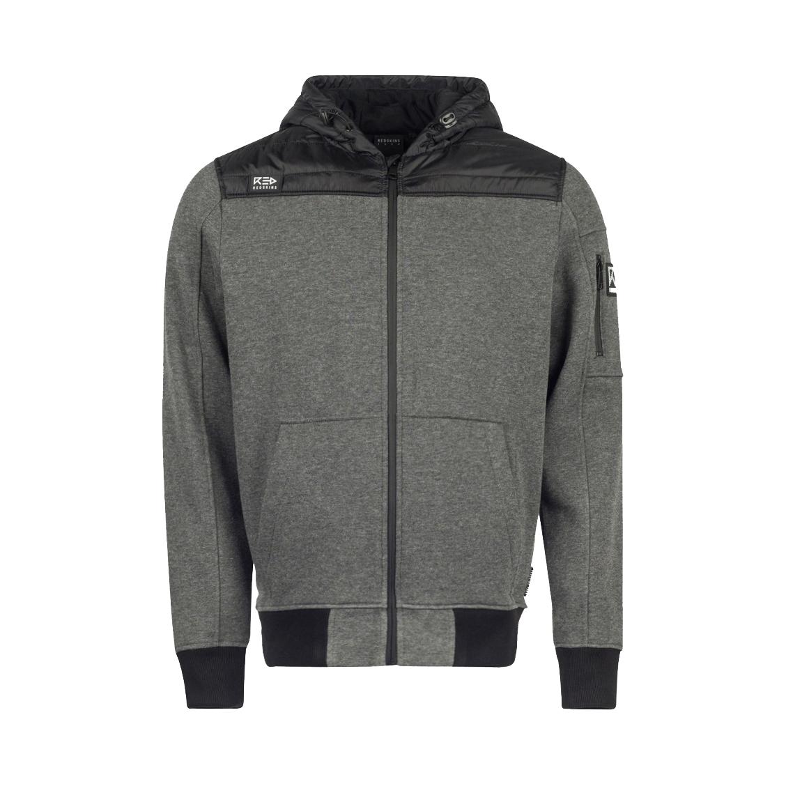 Sweat zippé à capuche  ladera stuy en coton mélangé gris anthracite à empiècements noirs