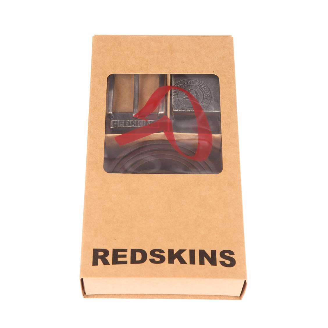 Coffret cadeau : ceinture ajustable redskins goffre en croûte de cuir de buffle marron foncé avec 2 boucles