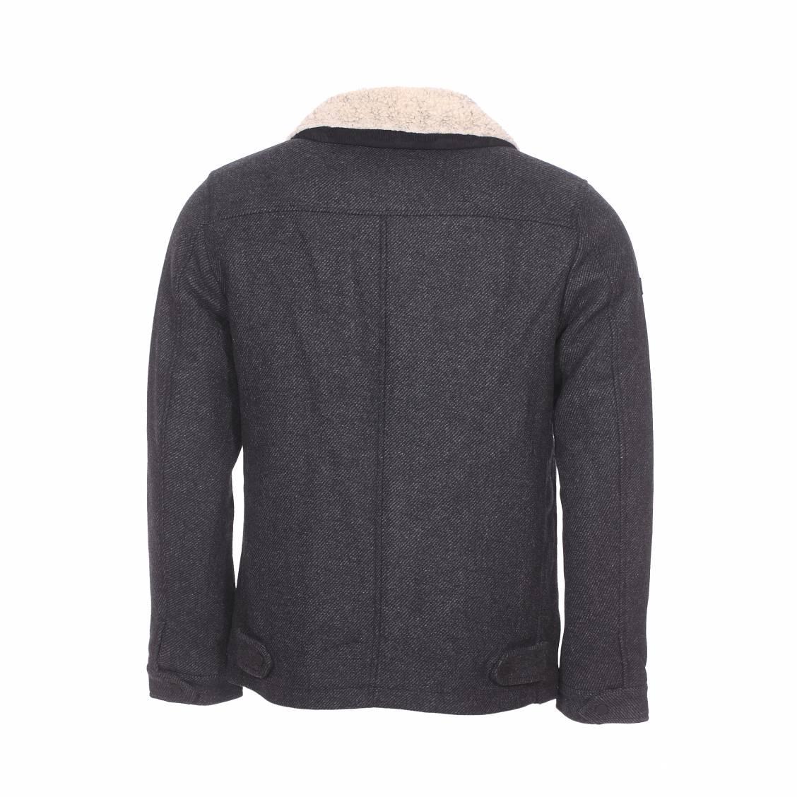 Veste zippée Superdry Mason en laine mélangée gris anthracite chiné | Rue Des Hommes