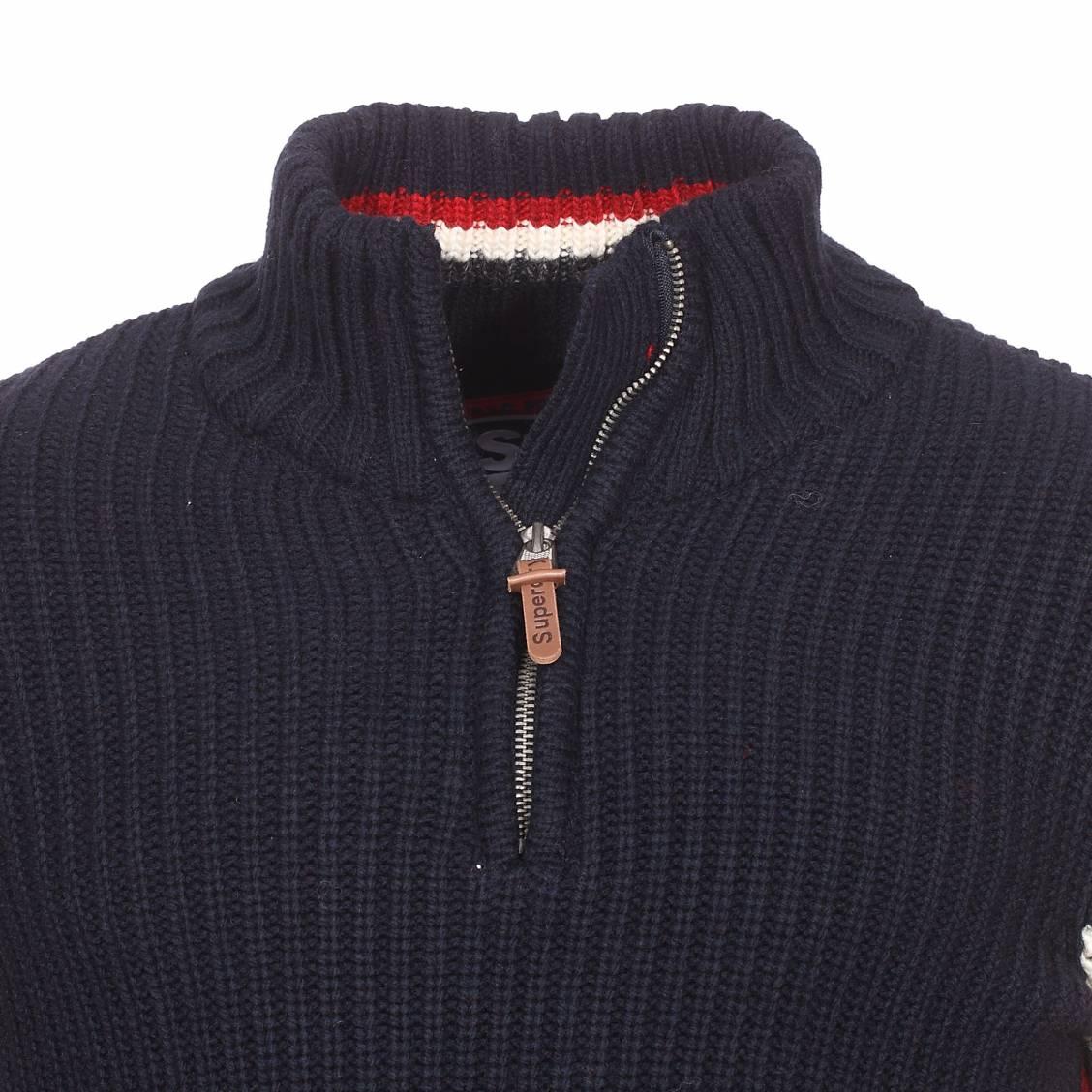 378aa0f2df6c ... Pull col zippé Superdry Ski Dog Henley en laine mélangée bleu marine à  rayures blanches, ...