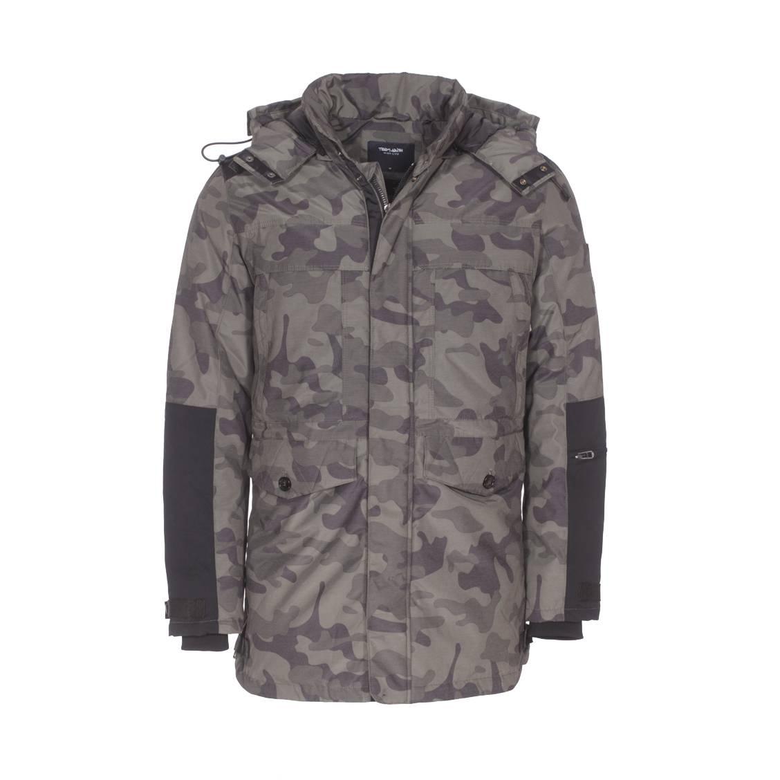Parka à capuche amovible Teddy Smith Powel en coton à imprimé camouflage | Rue Des Hommes