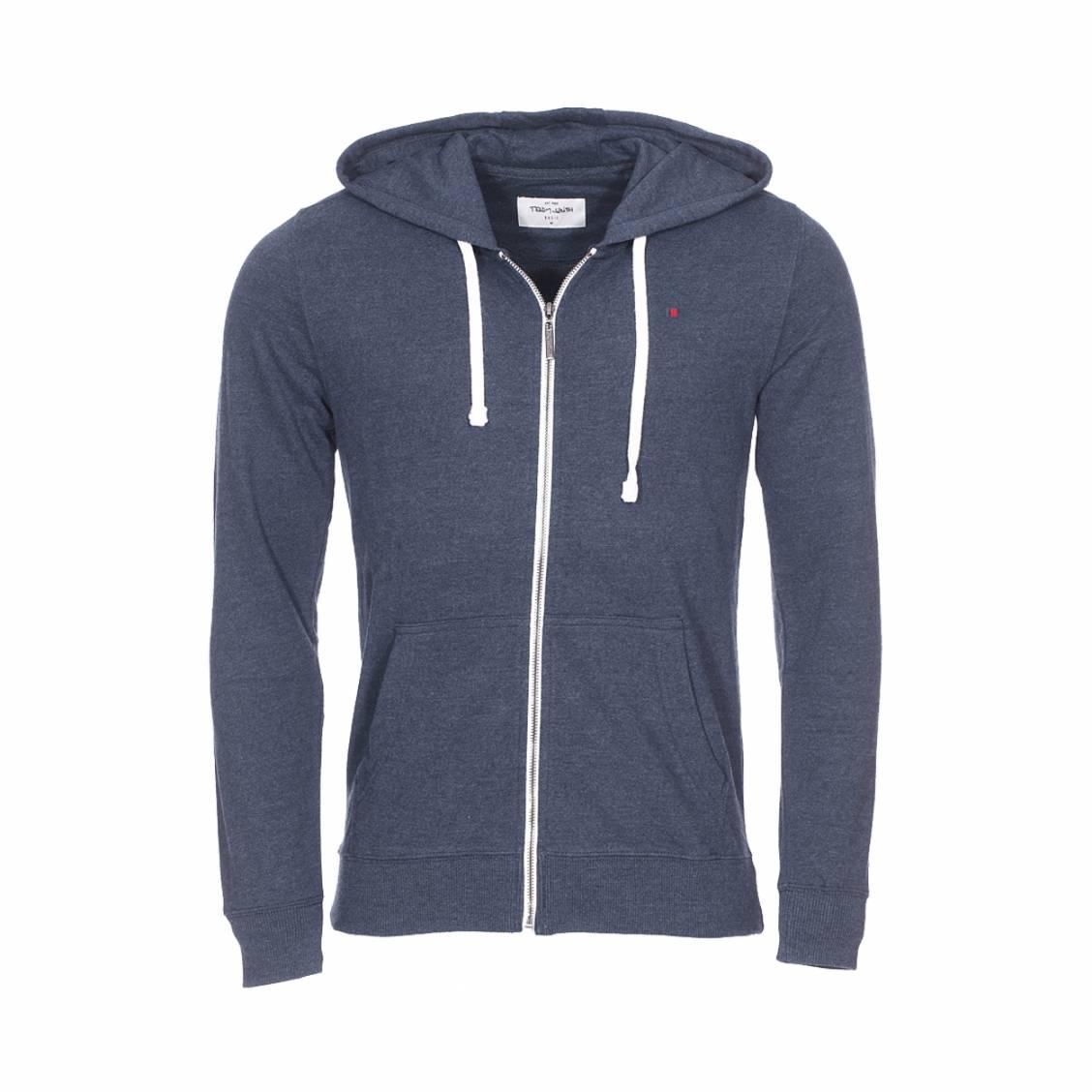Sweat zippé à capuche Gelly 2 Teddy Smith en coton mélangé bleu marine chiné | Rue Des Hommes