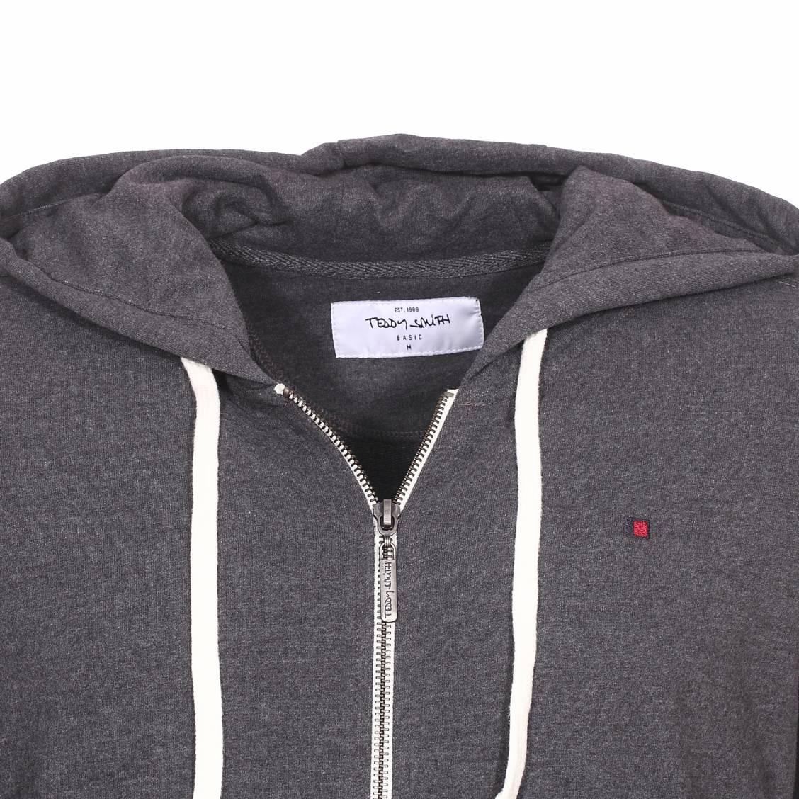 Sweat zippé à capuche Gelly 2 Teddy Smith en coton mélangé gris anthracite chiné | Rue Des Hommes