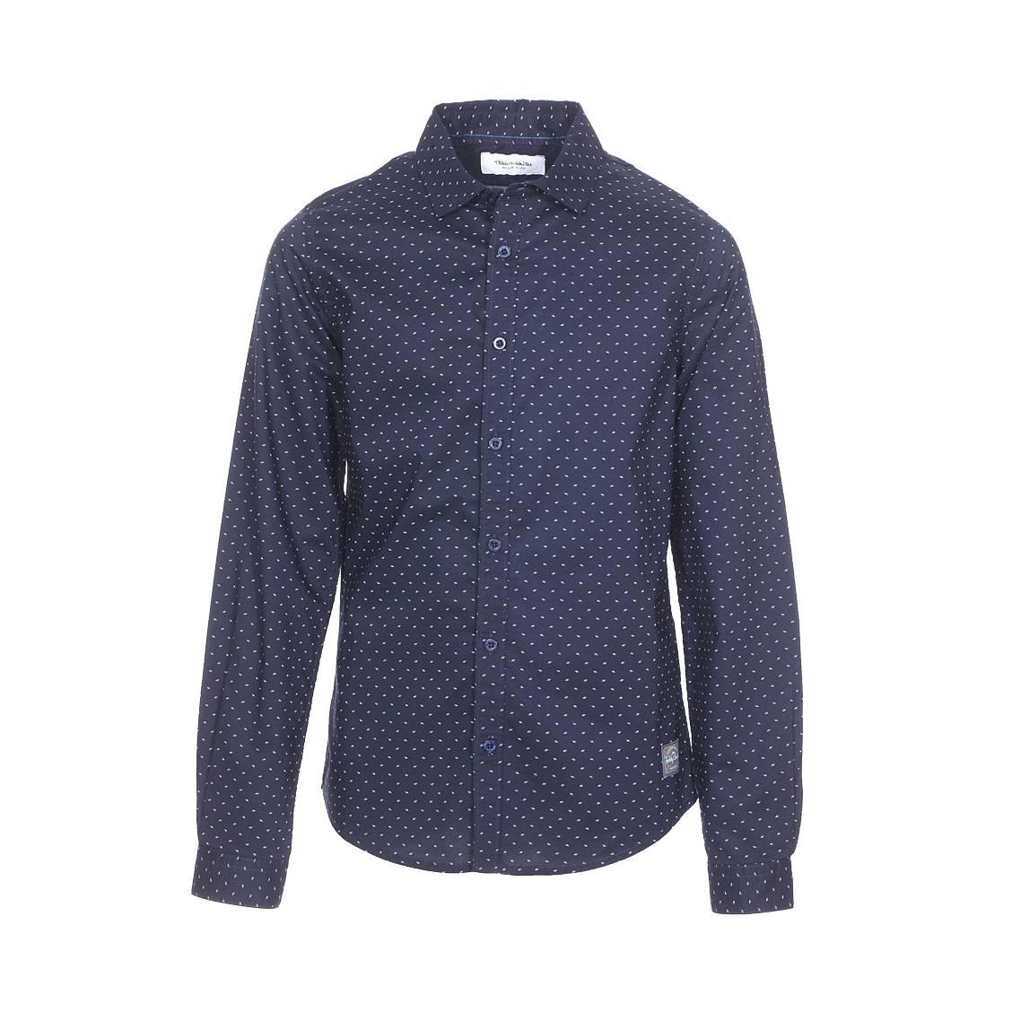 Chemise  clips bleu nuit à motif fantaisie blanc