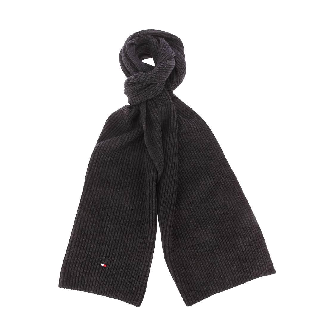 Echarpe tommy hilfiger en coton pima et cachemire noir chiné