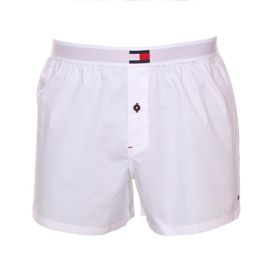 Caleçon tommy hilfiger woven boxer en coton stretch blanc