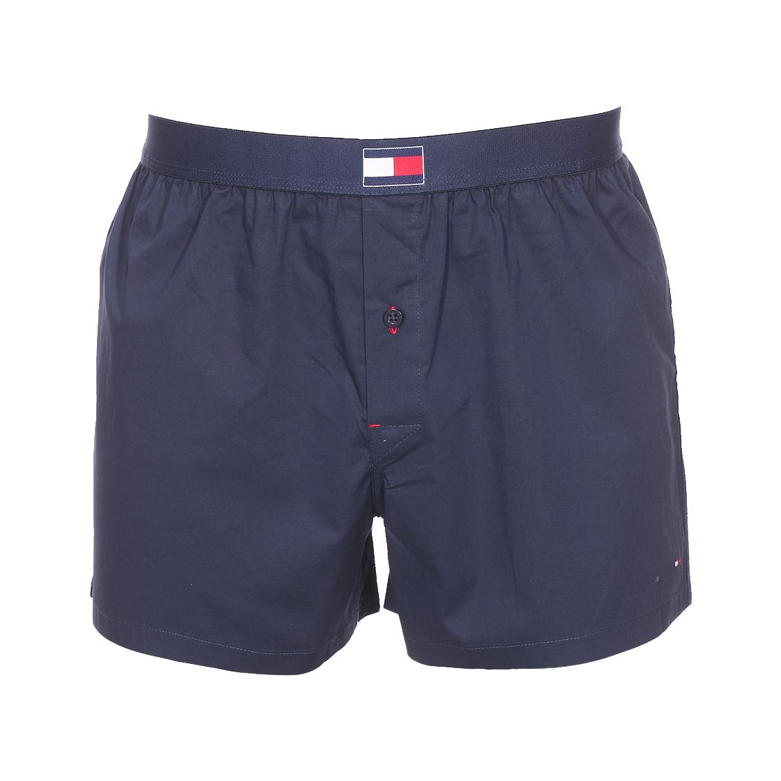 Caleçon tommy hilfiger woven boxer en coton stretch bleu marine