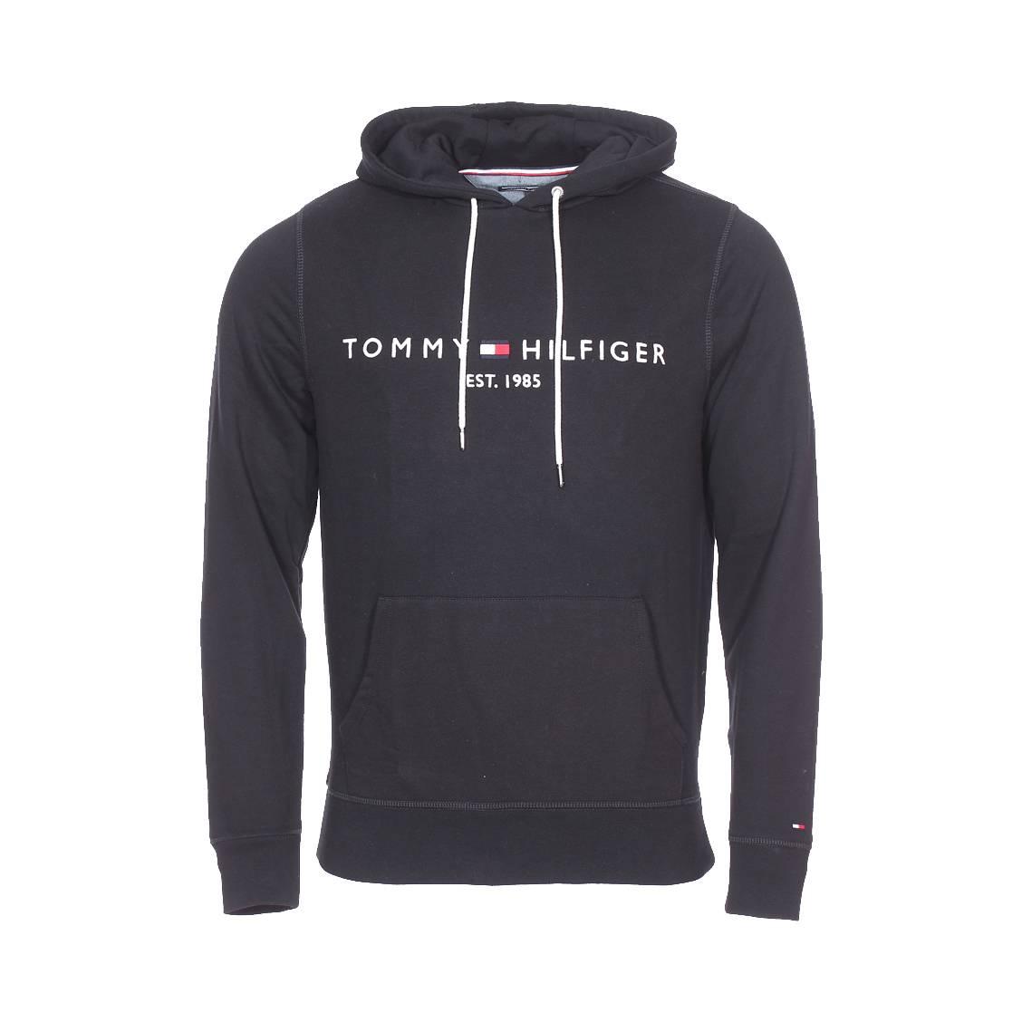 920412c0b0d11 Sweat à capuche Tommy Hilfiger Logo en coton mélangé noir | Rue Des ...