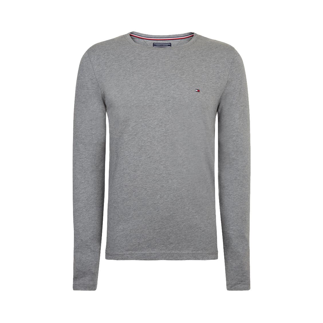 Tee-shirt col rond manches longues  essential en coton biologique gris foncé chiné