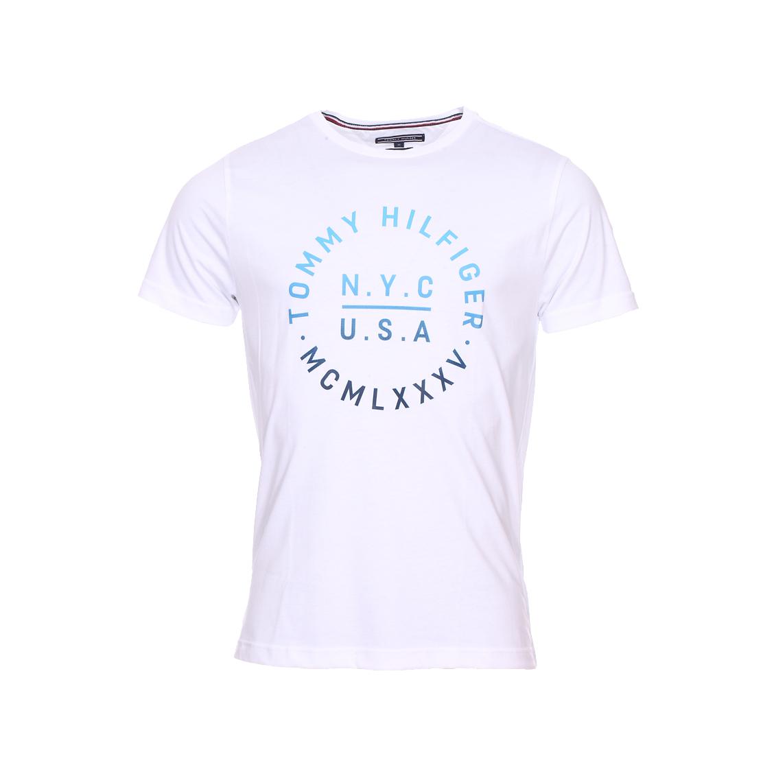 Tee-shirt col rond  gardient graphic en coton organique blanc floqué