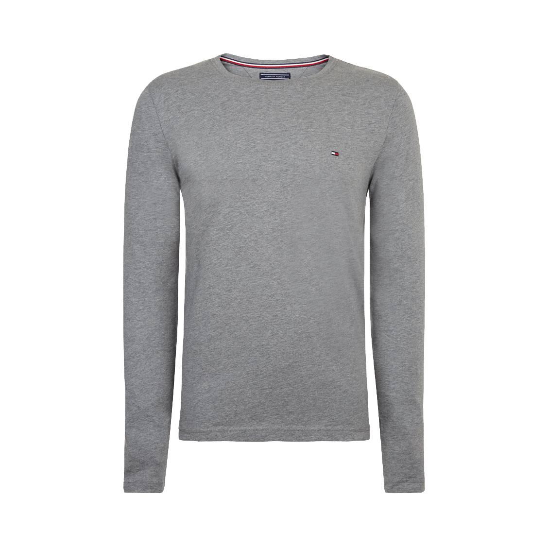 2510a6976437e Tee-shirt col rond manches longues Tommy Hilfiger Essential en xxx gris  chiné