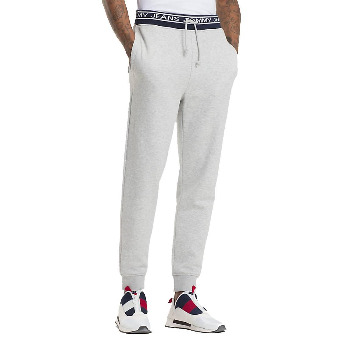 Pantalon de jogging Tommy Jeans Rib Logo en coton mélangé gris clair chiné  à ceinture logotypée ... 2da621c5793