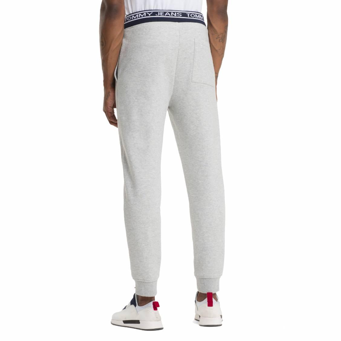 ... Pantalon de jogging Tommy Jeans Rib Logo en coton mélangé gris clair  chiné à ceinture logotypée ... 18a35e13318