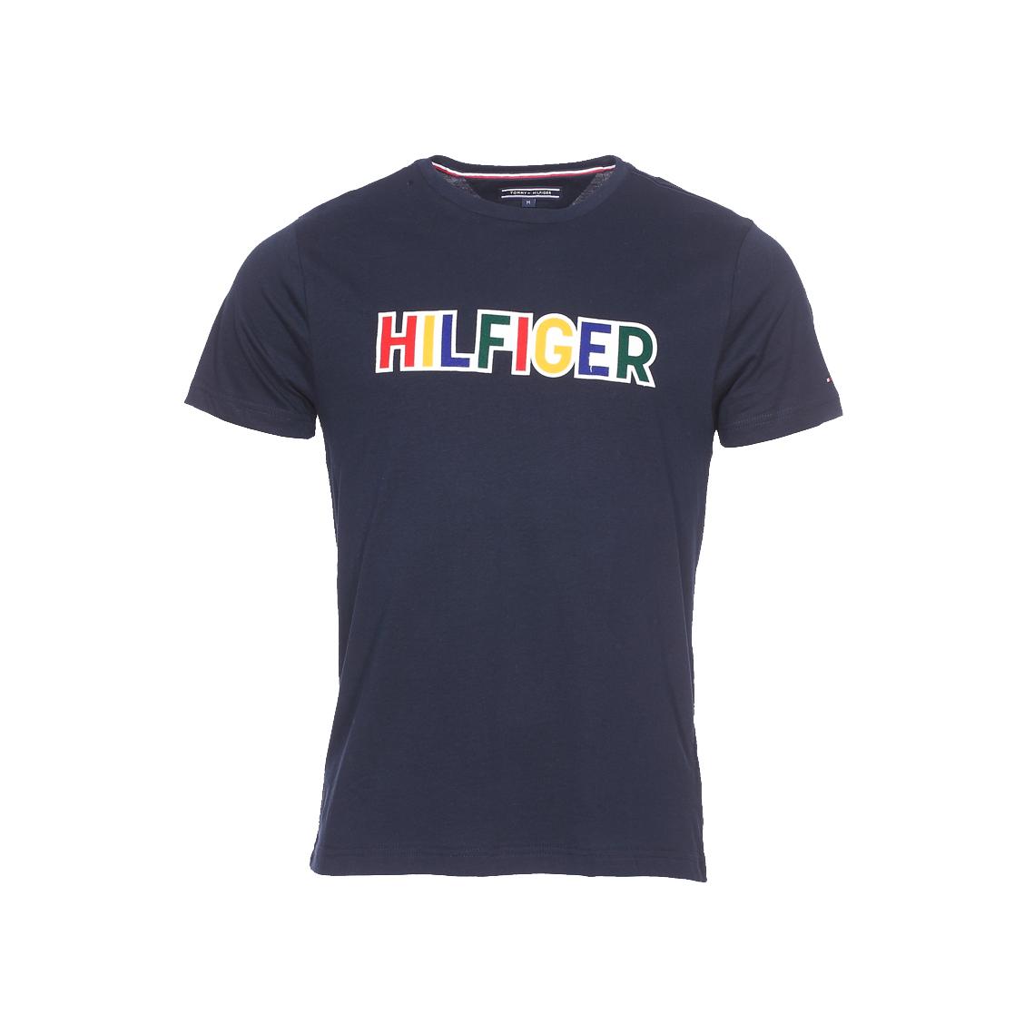 Tee-shirt col rond  graphic en coton organique bleu marine à patch floqué