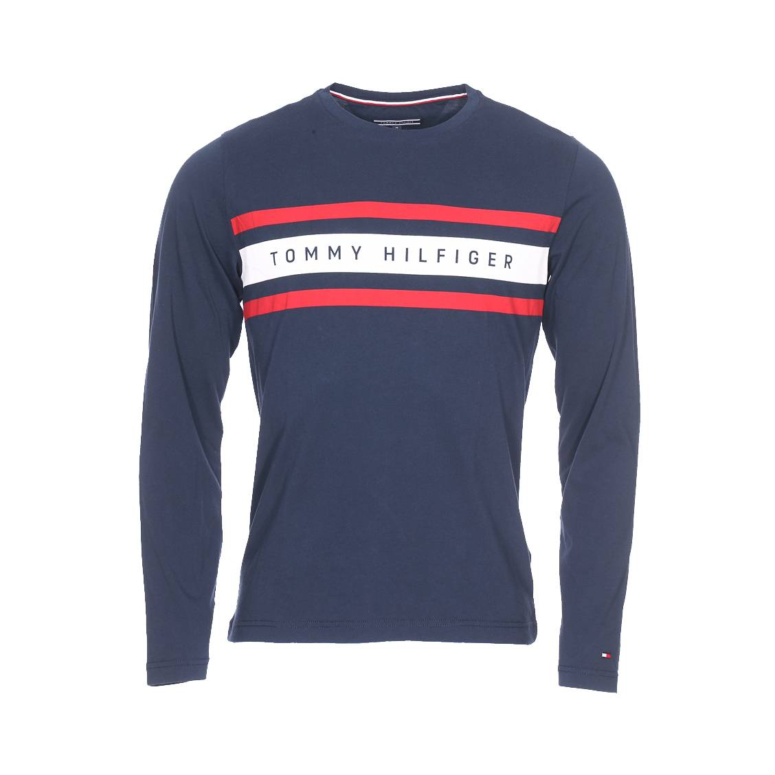 216feb71a7ed Tee-shirt manches longues col rond Tommy Hilfiger Logo Band Graphic en  coton organique bleu ...