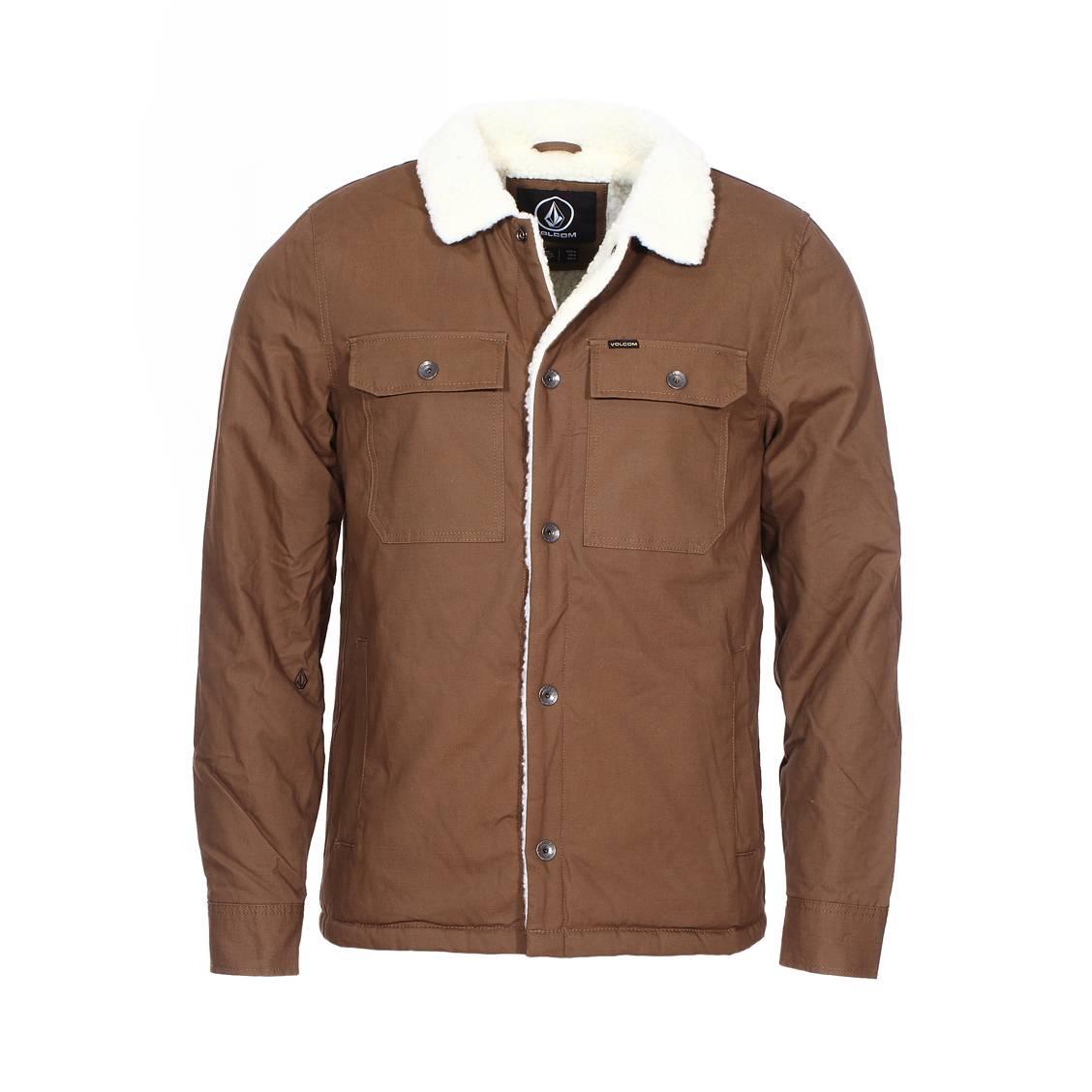 élégant et gracieux meilleur prix en ligne à la vente Blouson Volcom Keaton en coton marron et sherpa écru | Rue Des Hommes