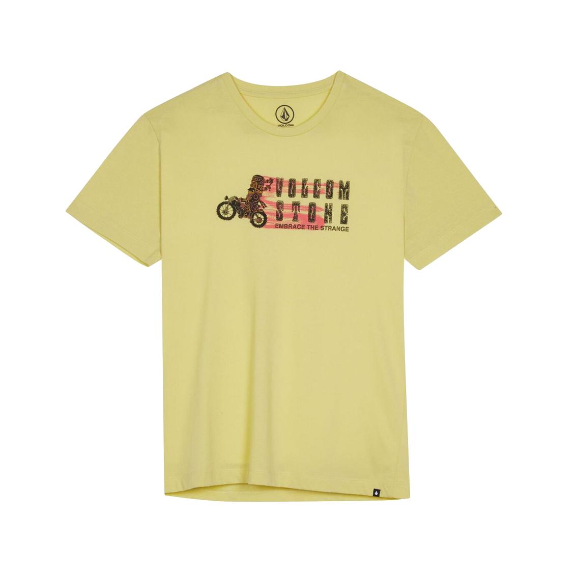 Tee-shirt col rond  moto mike en coton mélangé jaune floqué
