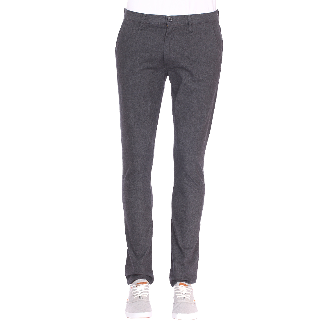 Pantalon chino  larston en laine mélangée stretch gris anthracite