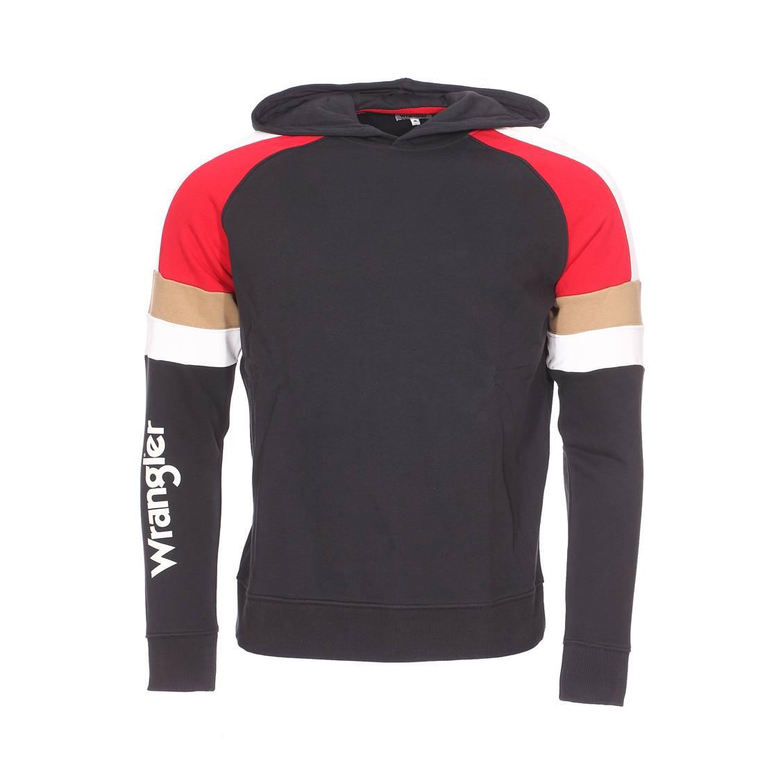 Sweat à capuche  cut&sew en coton mélangé à opposition de couleurs noire, rouge, blanche et marron