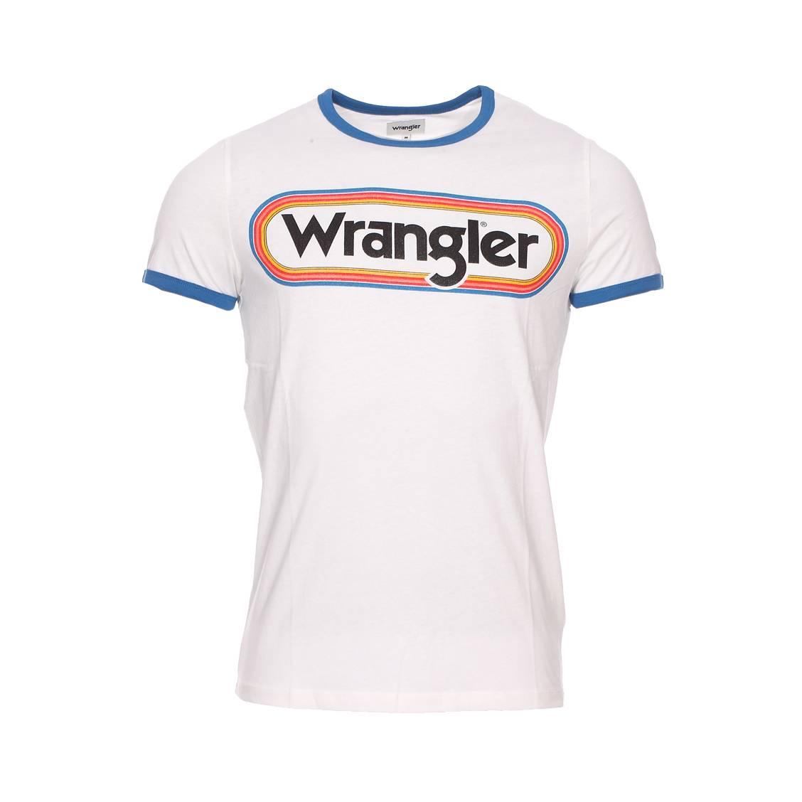 Tee-shirt col rond  logo ringer en coton blanc floqué