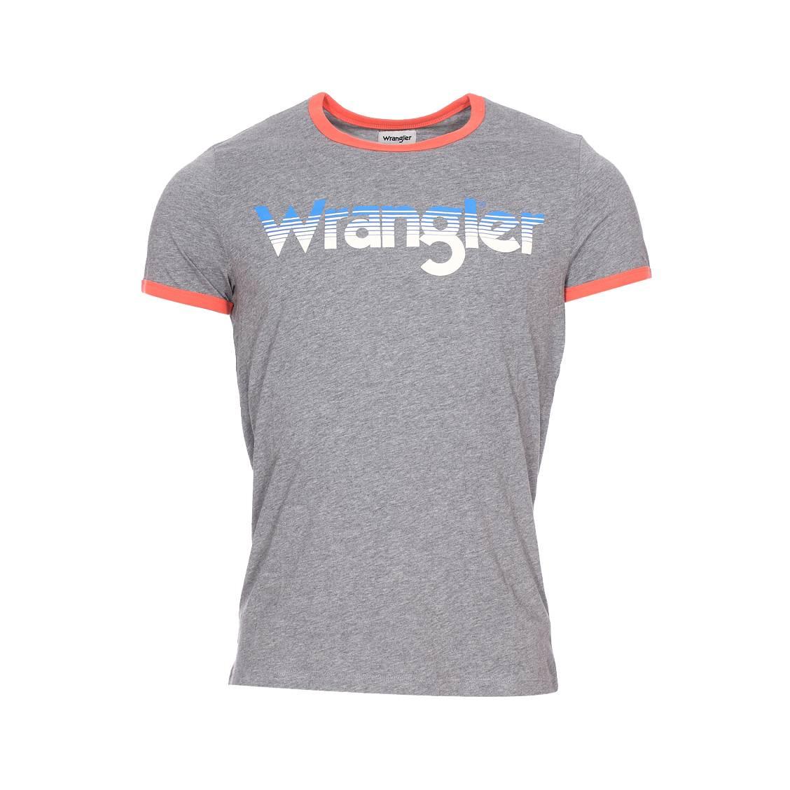 Tee-shirt col rond  logo ringer en coton gris foncé chiné floqué