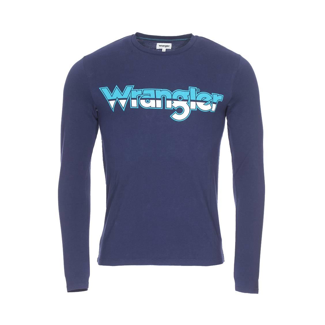 Tee-shirt col rond manches longues  logo en coton bleu marine floqué