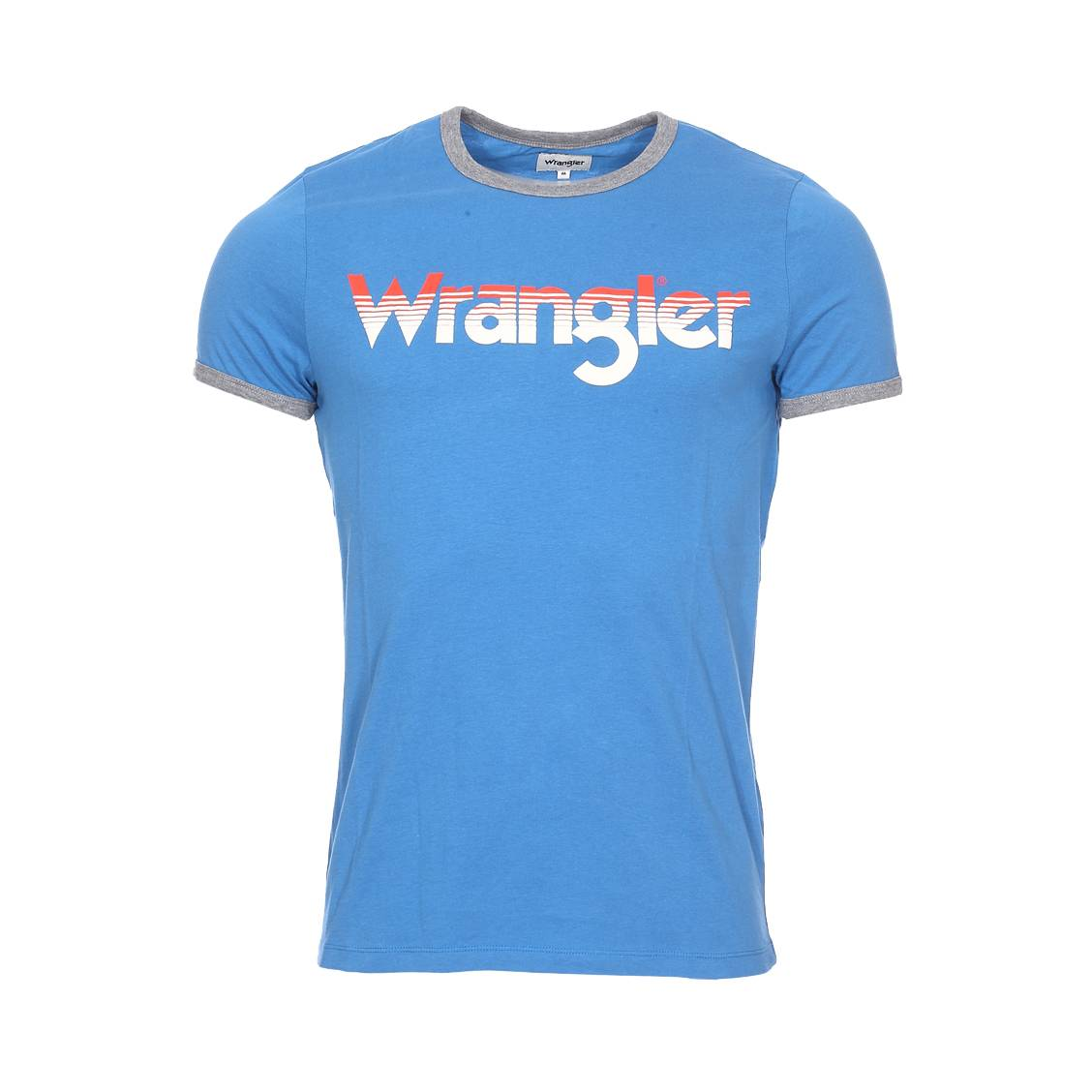 Tee-shirt col rond  logo ringer en coton bleu roi floqué en blanc et orange