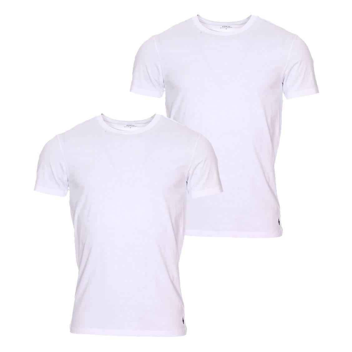 Lot de 2 tee-shirts col rond  en coton blanc à logo bleu marine brodé