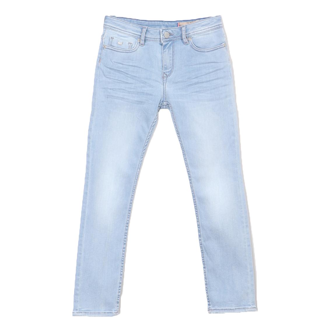 Jean slim  jego en coton stretch bleu clair légèrement délavé