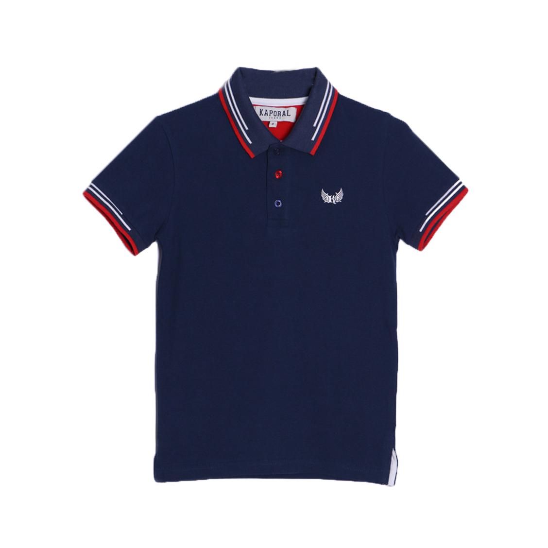 Polo  ayoc en piqué de coton bleu marine à détails rouges et blancs