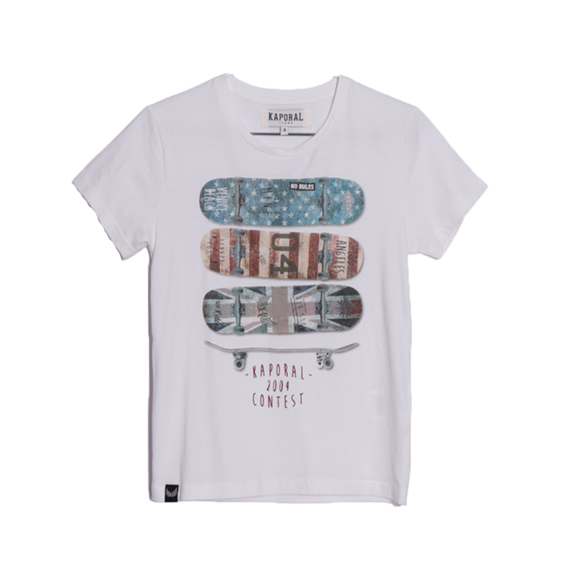 Tee-shirt col rond  abra en coton blanc à floquage skateboards