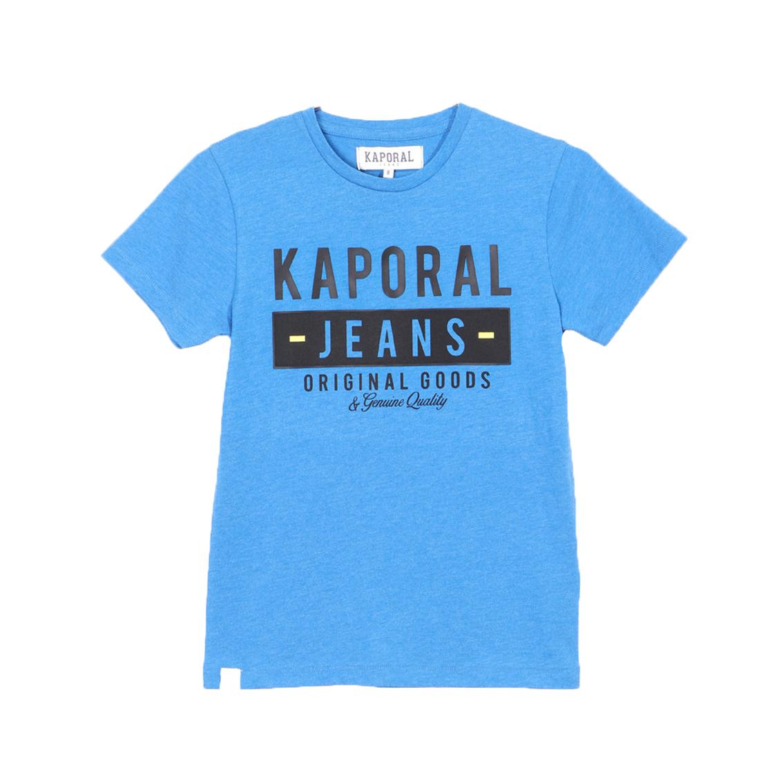 Tee-shirt col rond  arkes en coton mélangé bleu électrique chiné floqué