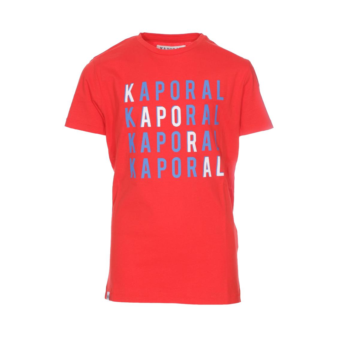Tee-shirt col rond  asper en coton rouge floqué en bleu roi