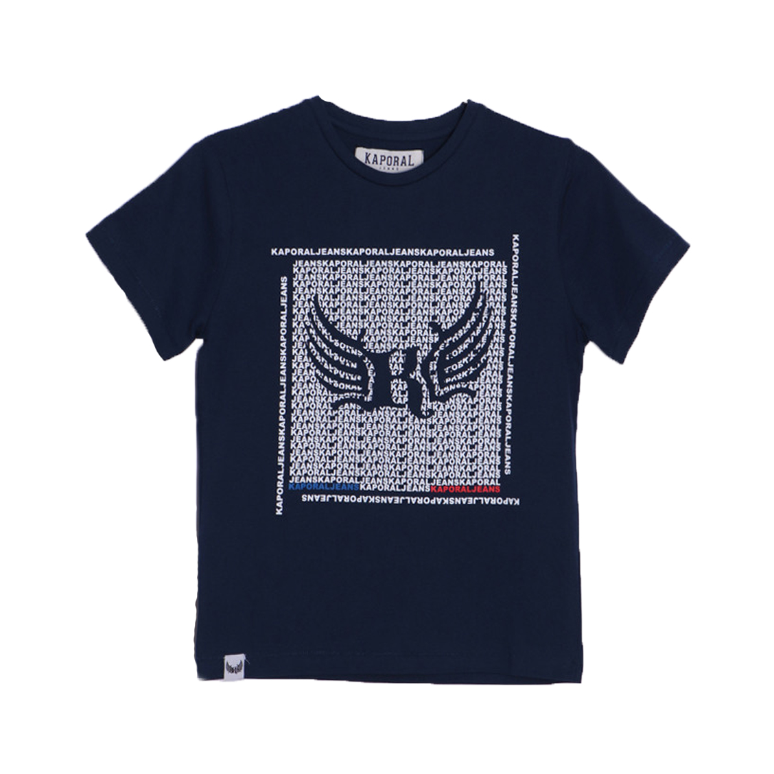 Tee-shirt col rond  astop en coton bleu marine floqué