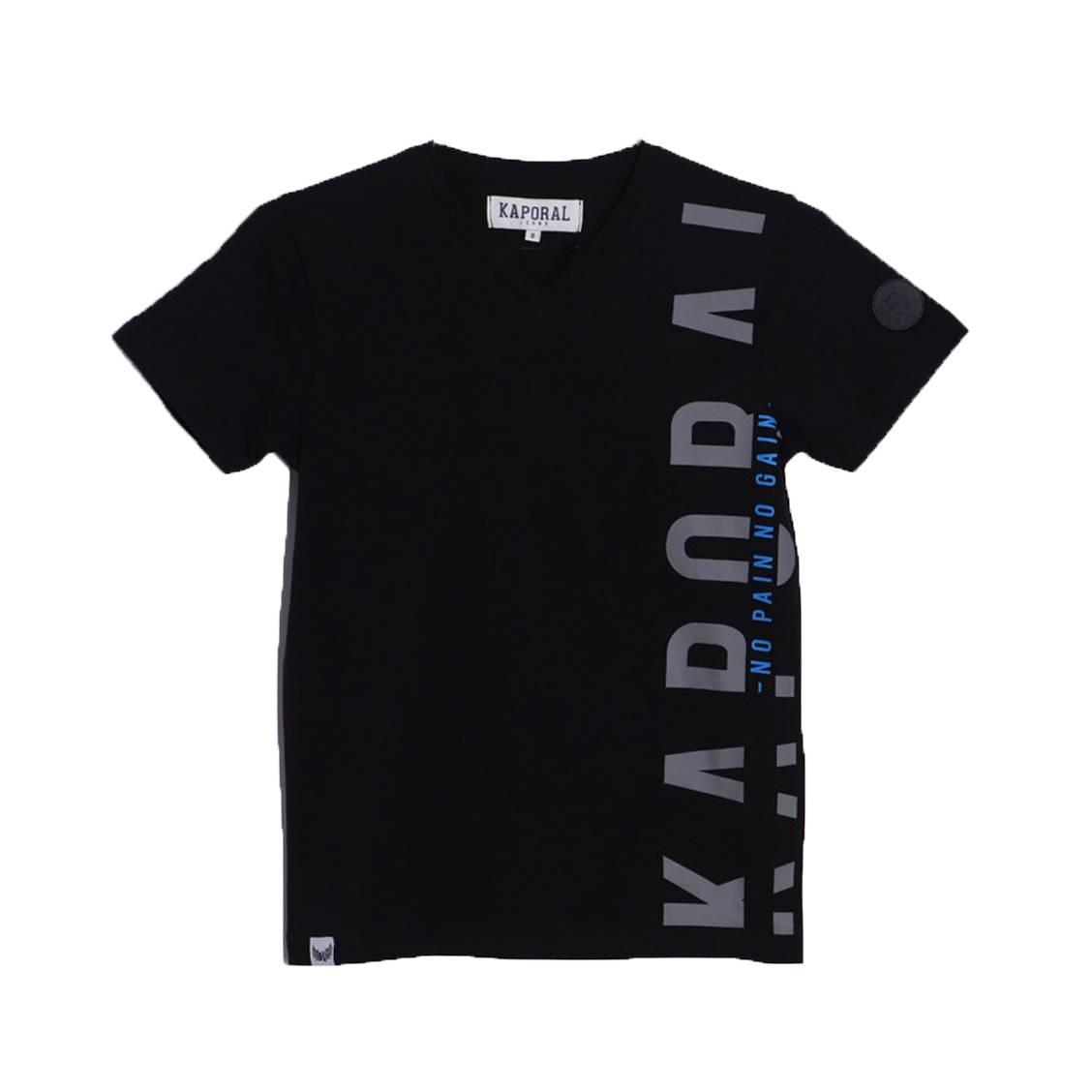 Tee-shirt col v  abel en coton noir floqué en gris et bleu